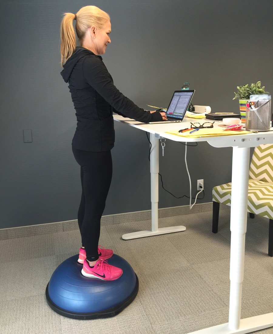 BOSU ball for standing desk