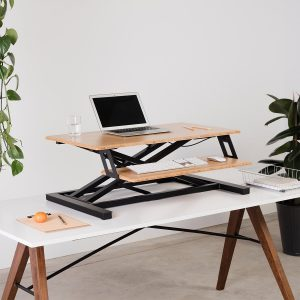 The Cooper standing desk converter is visually aesthetic