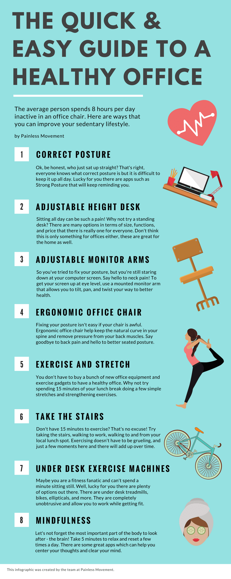 Infographic guide to healthy and ergonomic office