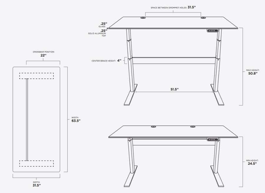 Xdesk frame and dimensions