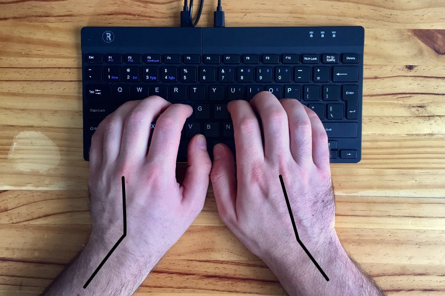 Wrist pronation with keyboard